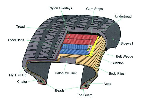 Internal structure of a radial tyre