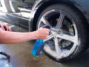 Spray tyre cleaner to every nook and corner