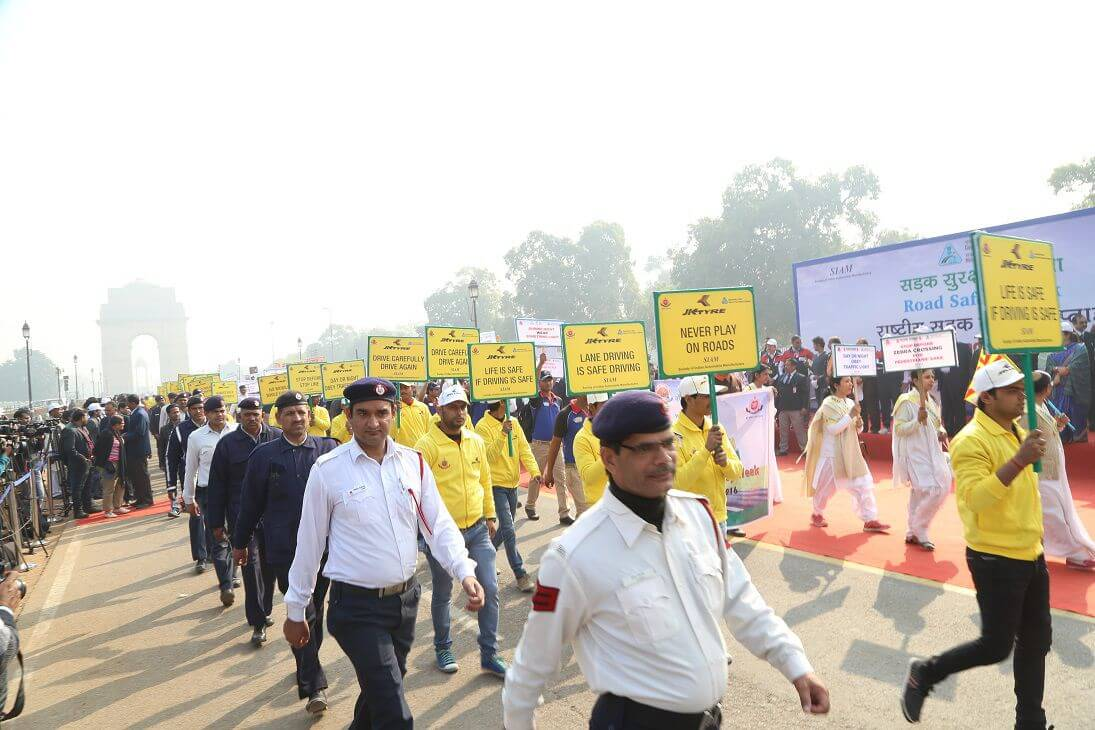 JK Tyreand Delhi Traffic Police at Road Safety Walk to celebrate the National Road Safety Week in Delhi